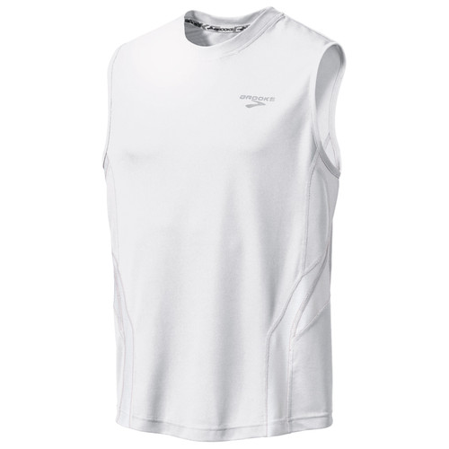 Brooks Running Sleeveless Rev Shirt in White