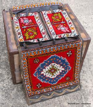 Vintage Guney (West Turkey) saddlebag wool / leather 48*130cm