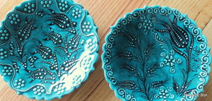 18cm Firuze plates.  Handmade and hand painted.