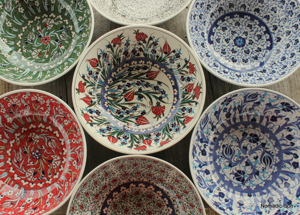 Stunning Extra Large - 30cm Hand painted Ceramic Bowls from Kutahya, Turkey.  Can be cleaned in the dishwasher but for longevity we recommend hand wash only.
