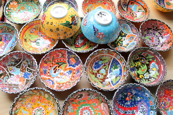 Hand painted Turkish ceramic bowls painted in the Kabartma style.