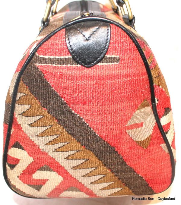 Vintage kilim and leather bowling bag #1