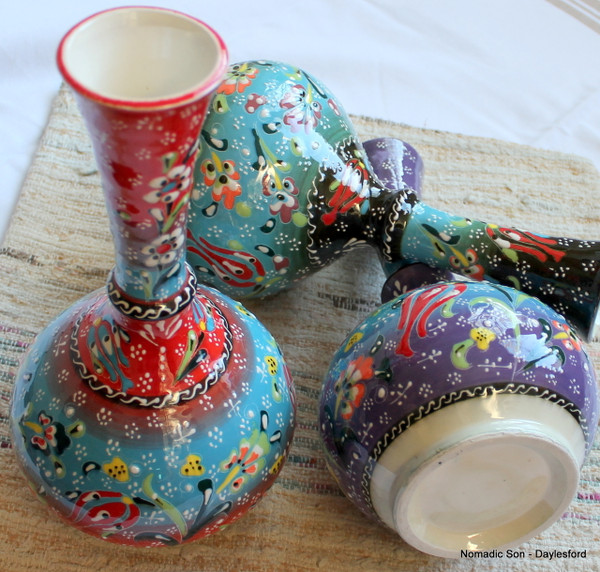 Kabartma tear catcher vases, large.  Handmade and hand painted in Turkey.