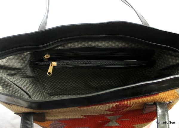 Afyon Tote - Large kilim and leather handbag