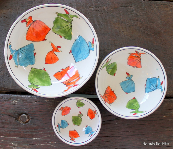 Whirling Dervish SUFI ceramic bowl - 8cm