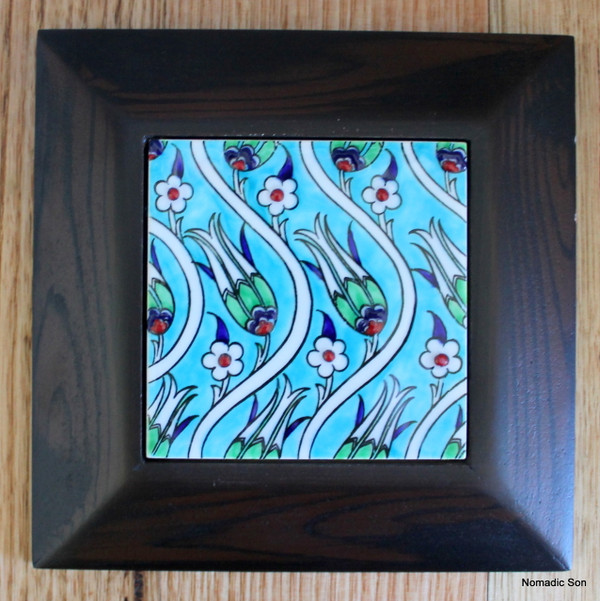 Hand painted framed tiles - small