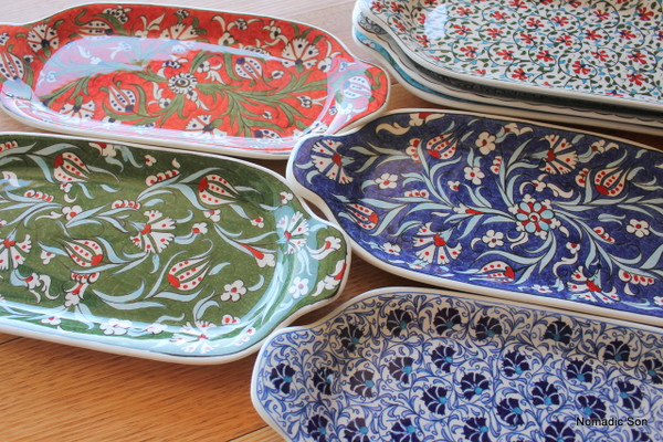 Hand painted ceramic serving tray.  Made in Turkey.