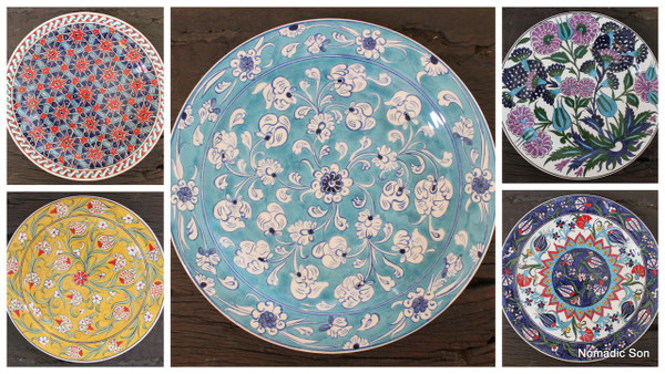 25cm Dinner plate - hand painted - 5 different designs ... & Dinner plates (25cm) - hand painted - Food safe - NOMADIC SON