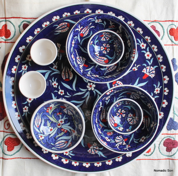 Soloman's Platter Set in Dark Blue