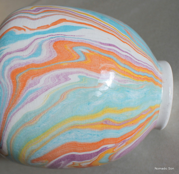 'Ayse' Marbled Ebru Vase - 14cm