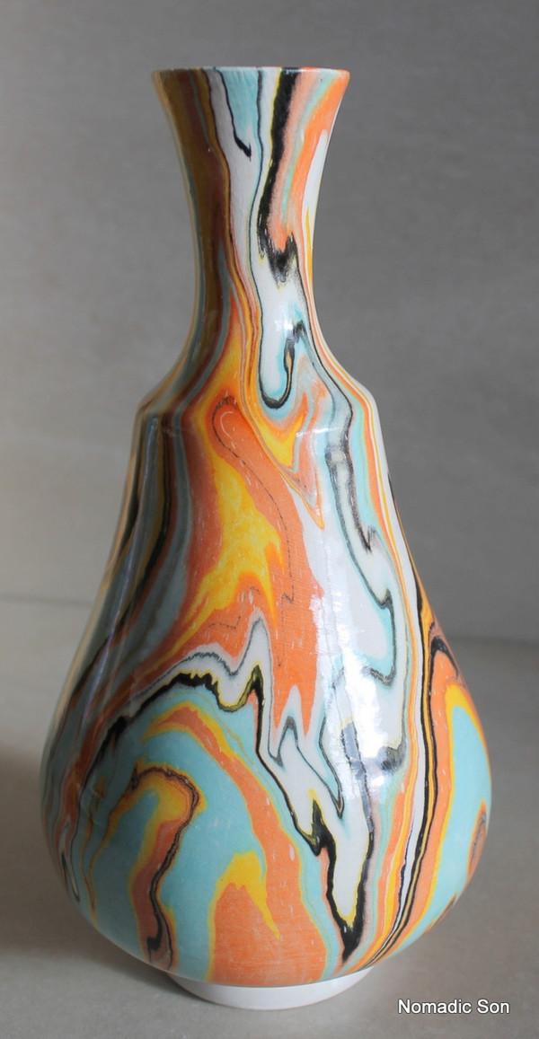 'Danji' Marbled Ebru Vase - 21cm