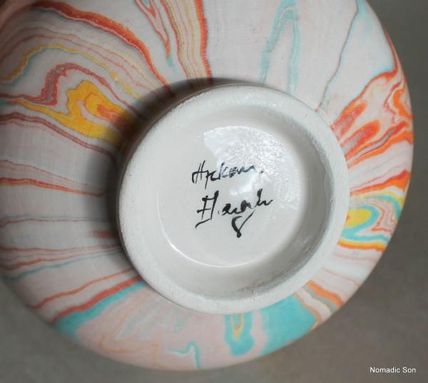 'Ferah' Marbled Ebru Vase - 14cm