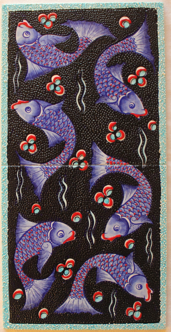 Hand painted 2 piece panal - Fish