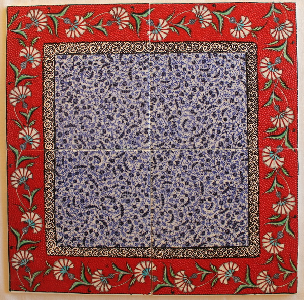 Hand painted 4 piece panal - Halic w Red Border