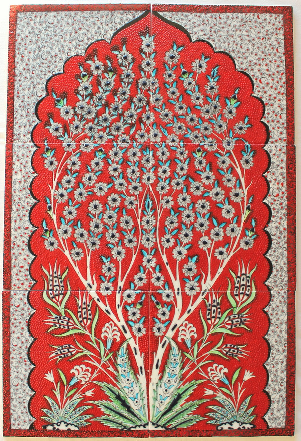 Hand painted 6 piece panal - Red Tree of Life