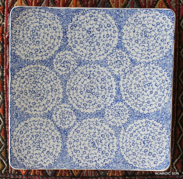 Soloman's Square Platter (Large, 30cm) - Hand painted - Food safe