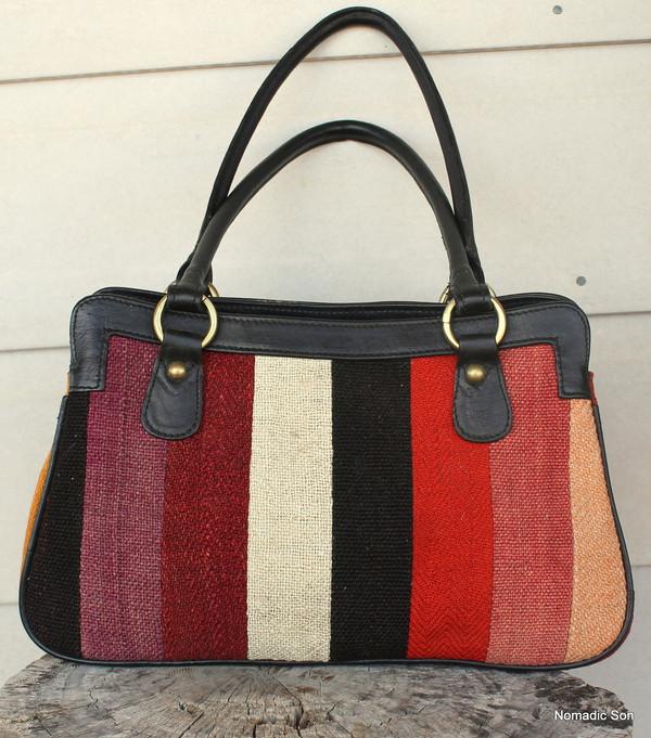 Patchwork kilim & leather Handbag 'Pinaar'