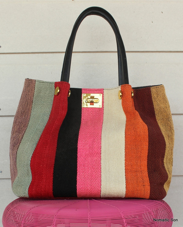 'Marmaris' Patchwork kilim and leather clasp handbag