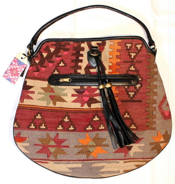 Kilim and leather saddlebag