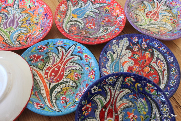 Hand painted colourful Special Kabartma hanging plates. Made in Turkey. & Special Kabartma round edge plates - 18cm - NOMADIC SON