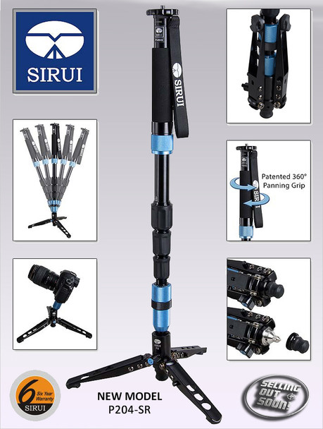Sirui P-204SR Professional Monopod w/ Tripod Feet + 6 Year Australian warranty (Super-light Aluminium Alloy)