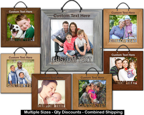 Photo Frame Hardwood Ornament w/ Cutout Text