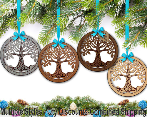 Tree of Life (t01) Hardwood Ornament w/ Metallic Leaf
