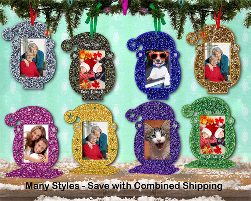 Photo Frame Glitter Santa Ornament