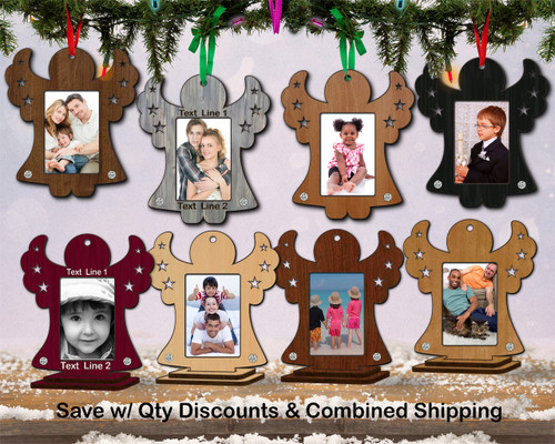 Photo Frame Hardwood Angel Ornament