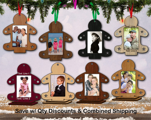 Photo Frame Hardwood Gingerbread Ornament