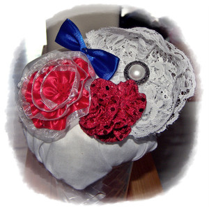 Shabby Chic and lace red and white headband