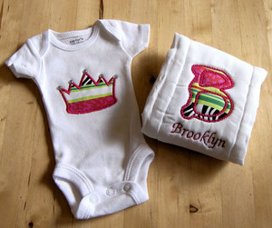 Princess Crown and Alpha Burp cloth set