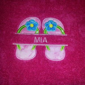 Flip Flop Name plate on towel