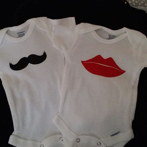 Mustache and Lips Twin Shirts