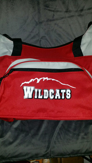 Wildcat bag with vinyl design.