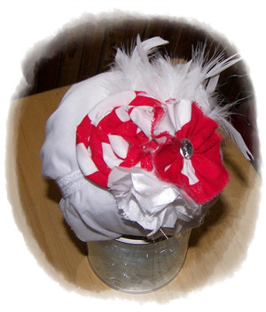 Red/ White Dot Flower with feathers