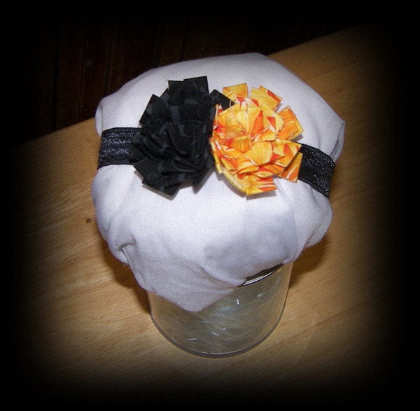 Black and Orange Flower Headband