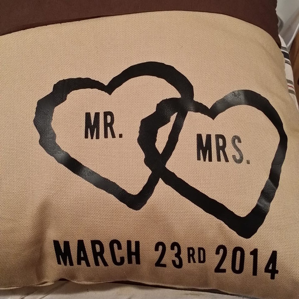 Mr & Mrs Pillow Square with date