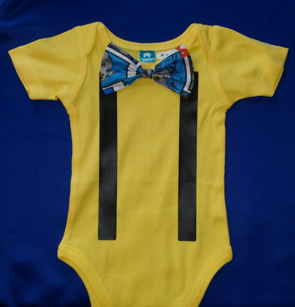 Bow tie and suspenders onesie