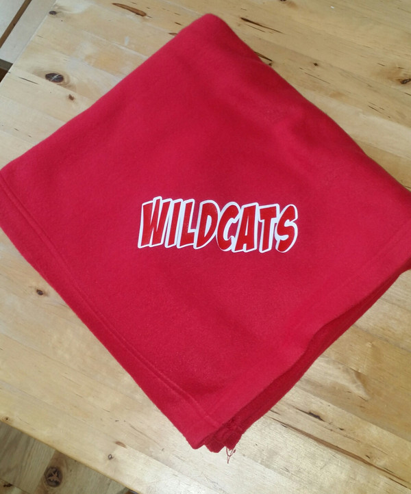 Blanket with logo. We can do lots of fonts. This is on a fleece blanket   50x 60
