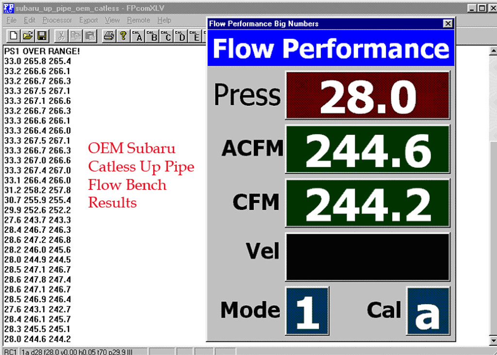 OEM Catless Up Pipe Flow Bench Test Results