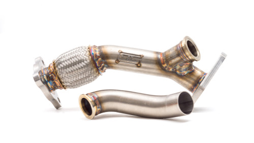External Wastegate Up Pipe w/ Dump Tube 3-Bolt Inlet, 38/40mm V-Band WRX/STI/LGT/FXT