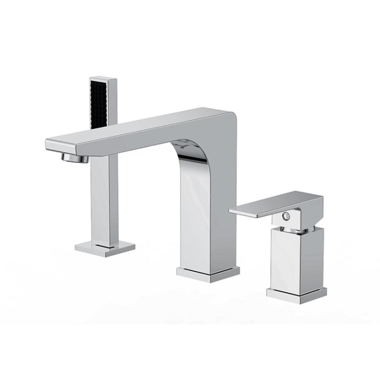 Royal Modern Roman Bath Brass Deck Mount Faucet With Hand Shower 3 Hole Tub