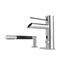 Rubi Kronos 2 piece deck mounted bath faucet with fiber carbon lever-handle and hand shower