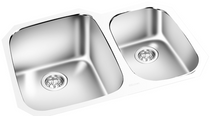 """York Taps Under Mount Double Bowl Kitchen Sink 28"""""""
