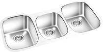 """Triple Bowl Under Mount Kitchen Sink 42  x 18"""""""