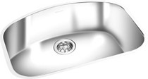 Stainless undermount curved single bowl sink