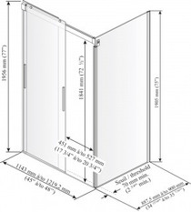 "Kalia Akcess Shower Enclosure 48''X 36""X 77''"
