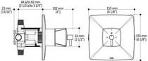 Kalia UMANI  TCD3 STANDARD 3 Way Thermostatic Shower System Chrome