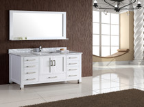 "Armada 72"" Vanity Single Sink Marble Top White"
